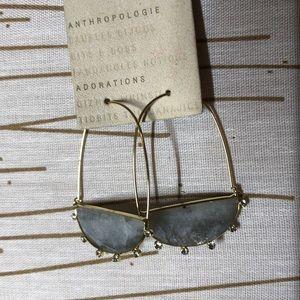 Anthropologie Crescent Hoop earrings Grey. NWT